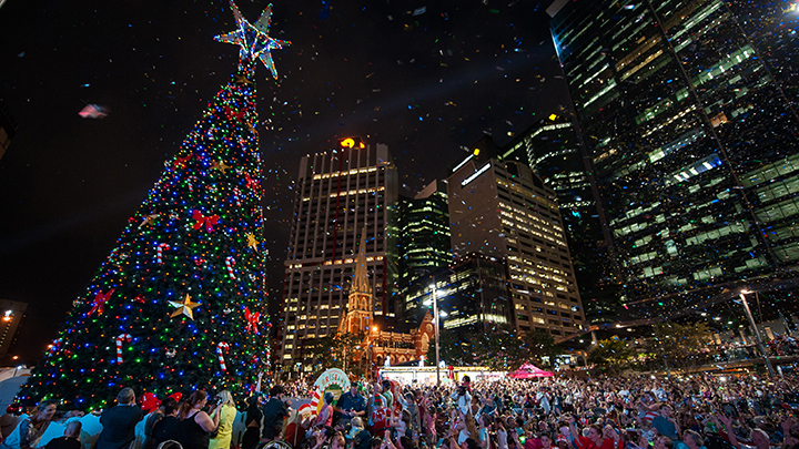Lighting of the Christmas tree in Brisbane City