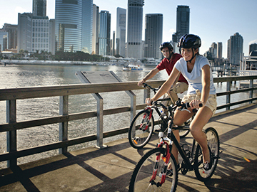 International Students riding bikes at Kangaroo Point