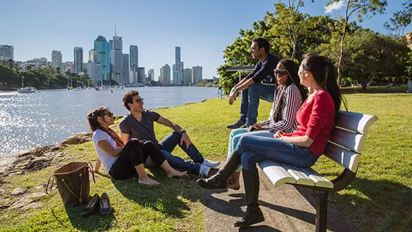 International Students studying in the park at Kangaroo Point, Brisbane