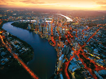 Brisbane city aerial at dusk